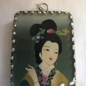Vintage Double Sided Geisha Pendant